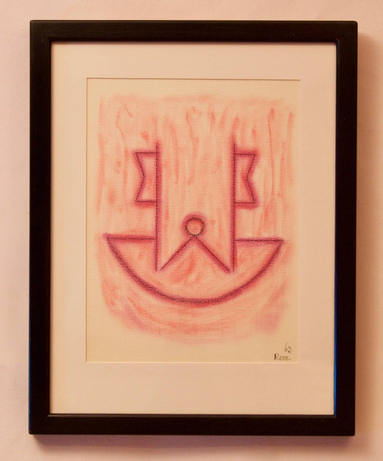 Abstract Mixed Media Drawing - Mid 20th Century by Rem Raymond Coninckx Belgium For Sale 1