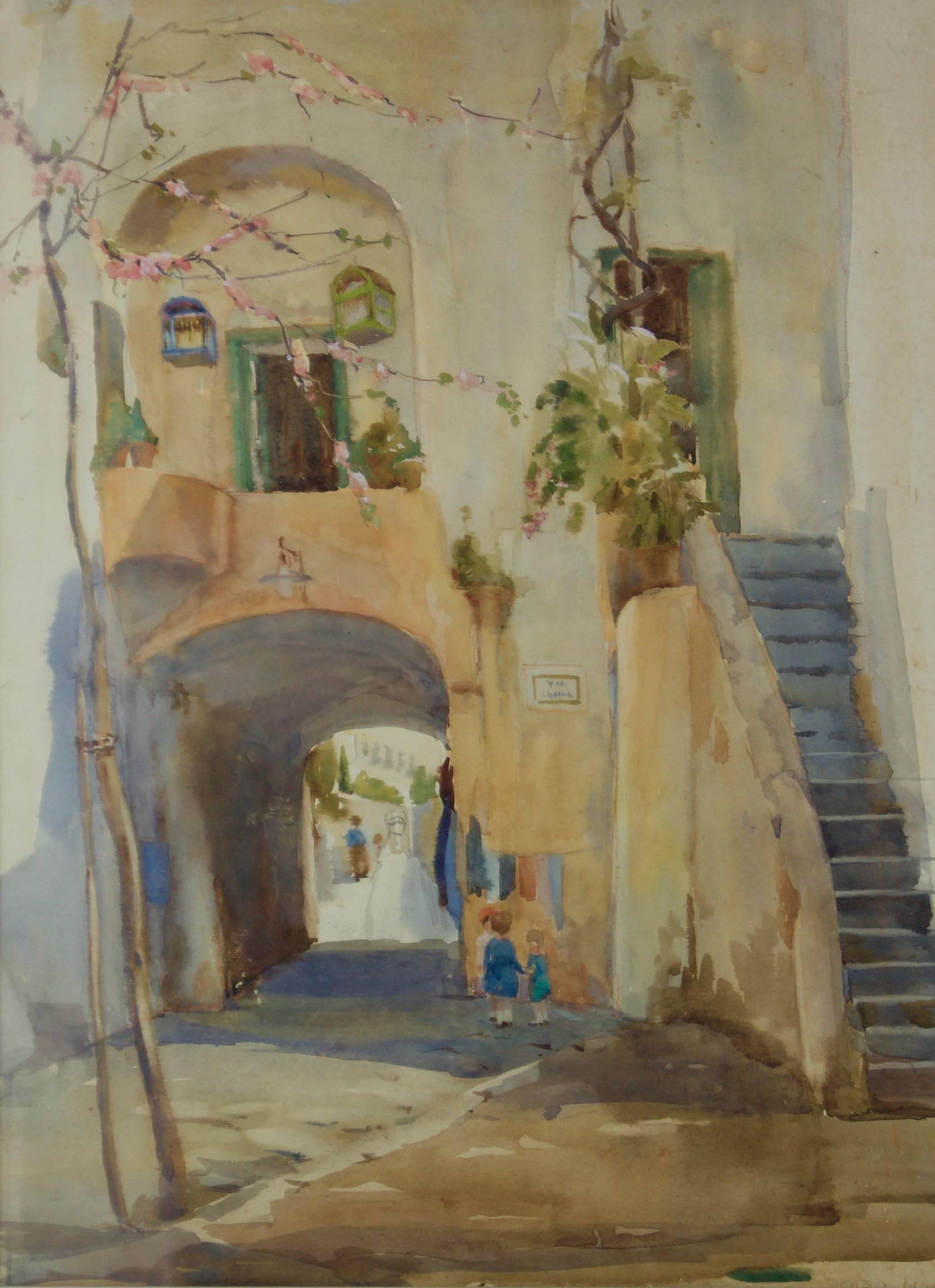 Italian Village - Mid 20th Century Impressionist Watercolour by Bennett