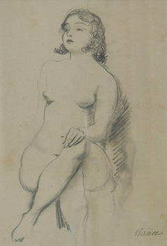 Pencil Sketch of Girl Nude Posing - Early 20th Century by Bruno Beran