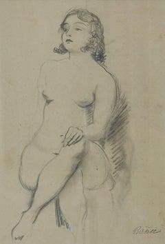 Pencil Sketch of Girl Nude Posing - Early 20th Century by Bruno Beran