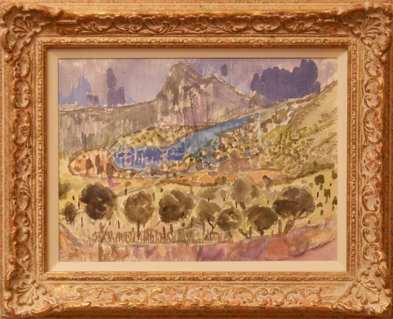 Landscape of Provence in France - Late 20th Century Watercolour by Muriel Archer For Sale 1