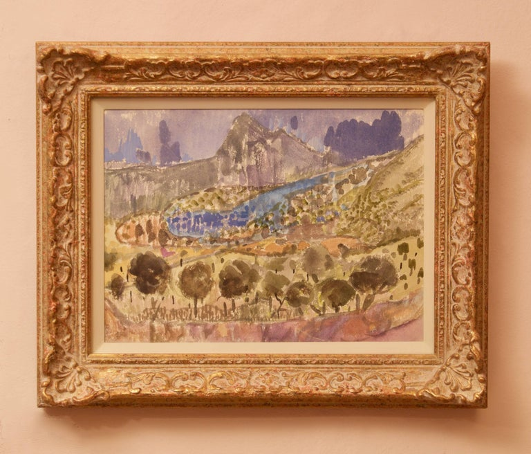 Landscape of Provence in France - Late 20th Century Watercolour by Muriel Archer For Sale 2
