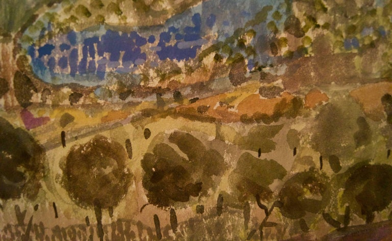 Landscape of Provence in France - Late 20th Century Watercolour by Muriel Archer For Sale 4