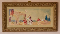 Lunch on the Beach - 20th Century Watercolor of Dining on the Seafront