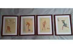 "Rare Set of 4 Gouache Drawings "" The Sexy Morning of a Late Parisian """