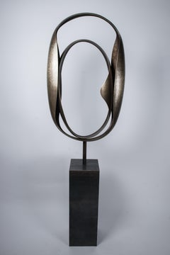 """Couple"" Monumental Abstract Brass Sculpture"