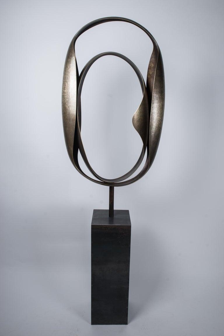 """Elie Hirsch Abstract Sculpture - """"Couple"""" Monumental Abstract Brass Sculpture"""