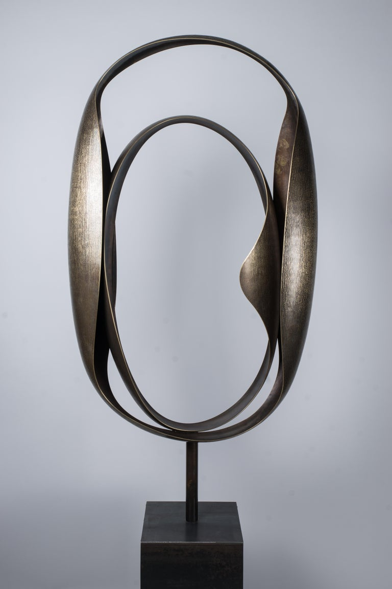 One of a Kind Monumental Abstract brass sculpture, Weigh: 20kg About the Artist: Graduate in ceramic design and metal sculpture (2001, 2003), he worked during two years with the sculptor Hervé Wahlen in his workshop . Laureate of the competition