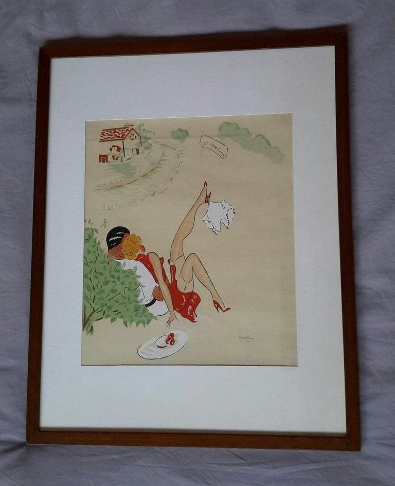 """Unknown Nude - Beautiful French Watercolor 1940's """" Désir à la Française"""""""