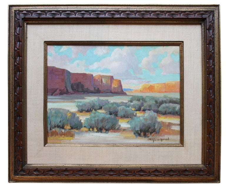 """Painting of a landscape with mountain by J. M. Reinhard (1893-1959) oil on board. Painting is 12"""" x 16"""" while overall framed piece is 21"""" x 24.75""""."""