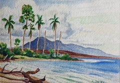"""Beach Along Guadalcanal"" Watercolor during WWII by: Fred Darge"