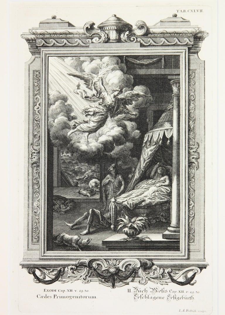 Copperplate Engraving of Biblical Scene in Exodus by: Georg Daniel Heumann - Gray Figurative Print by Georg Daniel Heumann
