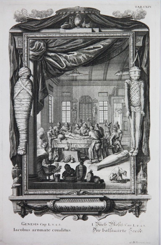 Copperplate Engraving of Biblical Scene in Genesis by: Georg Daniel Heumann - Gray Landscape Print by Georg Daniel Heumann