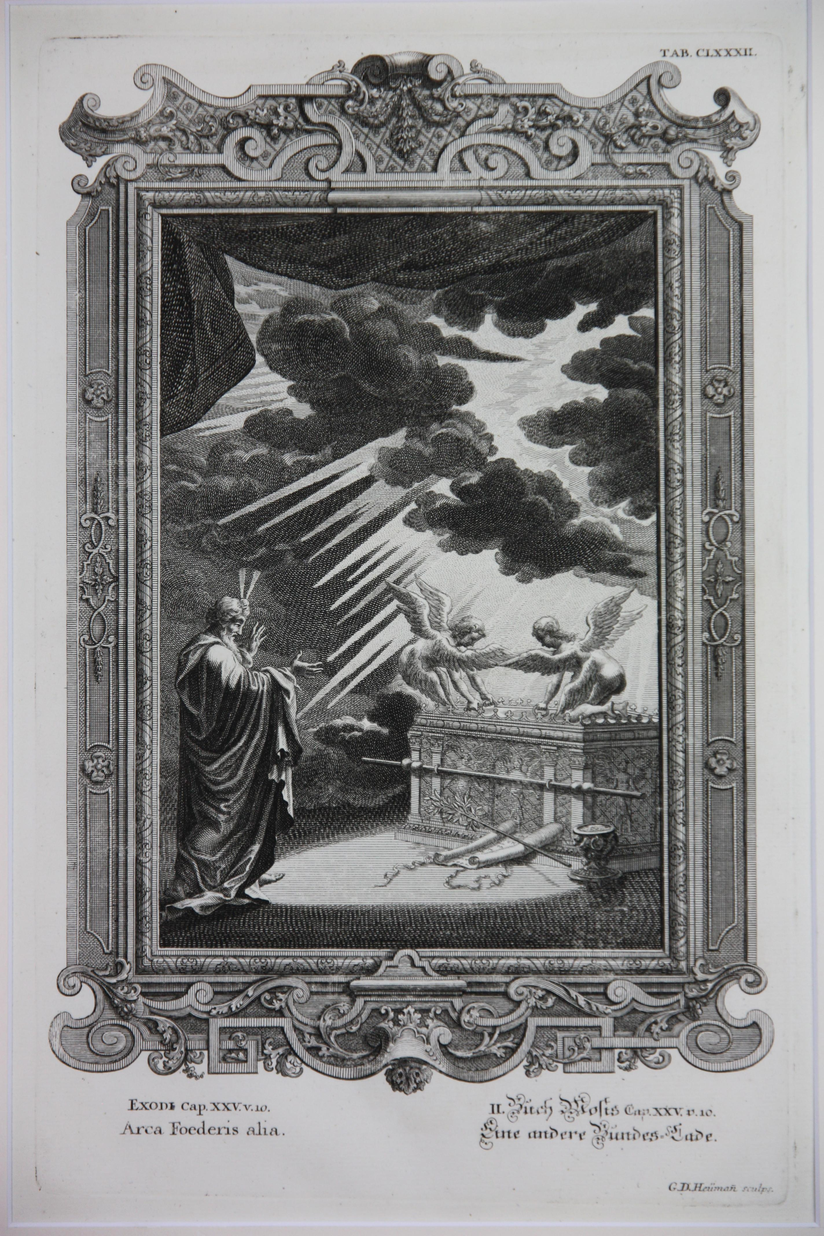 Copperplate Engraving of Biblical Scene in Exodus by: Georg Daniel Heumann