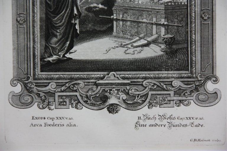 Copperplate Engraving of Biblical Scene in Exodus by: Georg Daniel Heumann - Gray Landscape Print by Georg Daniel Heumann