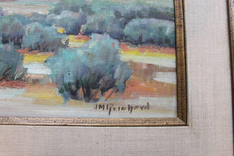 Landscape with Mountain by J. M. Reinhard, Oil on Board Painting For Sale 1