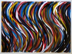 Irregular Vertical Brushstrokes with Colors Superimposed