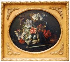 FLOWERS - Italian still life oil on canvas oval painting, Roberto Suraci