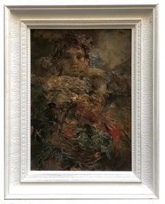 Female Portrait - Giacomo Moretti Italian Oil on Canvas Painting