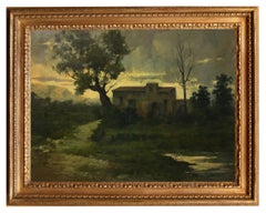 Country Landscape - Antonio Crespi Italian Oil on Canvas Painting, 2005