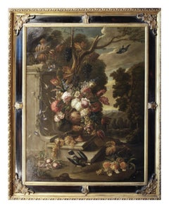STILL LIFE WITH FLOWER FRUIT AND BIRDS - Oil on canvas  Italy Alfredo Mayeux