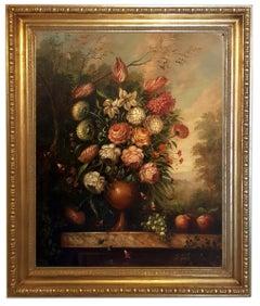 Flowers - Lorenzo Renzi Oil on Canvas Italian Still Life Painting