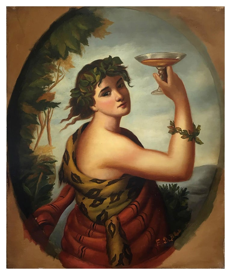 Autumn - Eugenio De Blasi Portrait Italian Oil on Canvas Painting - Brown Portrait Painting by Eugenio De Blasi