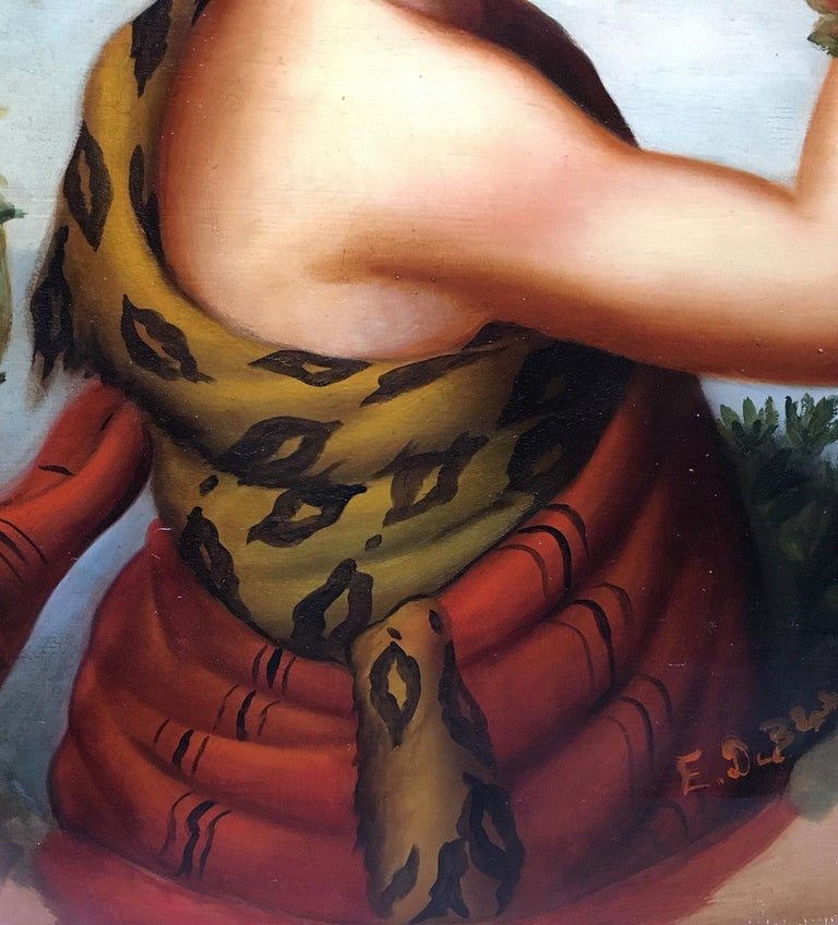 Autumn - Eugenio De Blasi Portrait Italian Oil on Canvas Painting For Sale 4