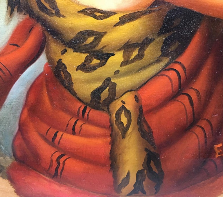 Autumn - Eugenio De Blasi Portrait Italian Oil on Canvas Painting For Sale 10