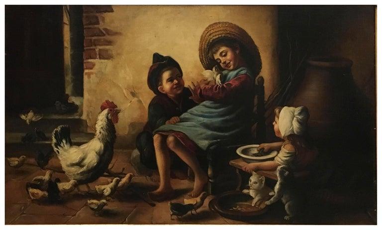 INSIDE SCENE- Italian figurative oil on canvas painting, Eugenio De Blasi - Brown Portrait Painting by Eugenio De Blasi