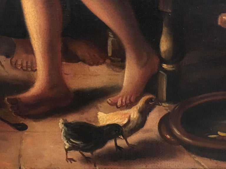 INSIDE SCENE- Italian figurative oil on canvas painting, Eugenio De Blasi For Sale 1