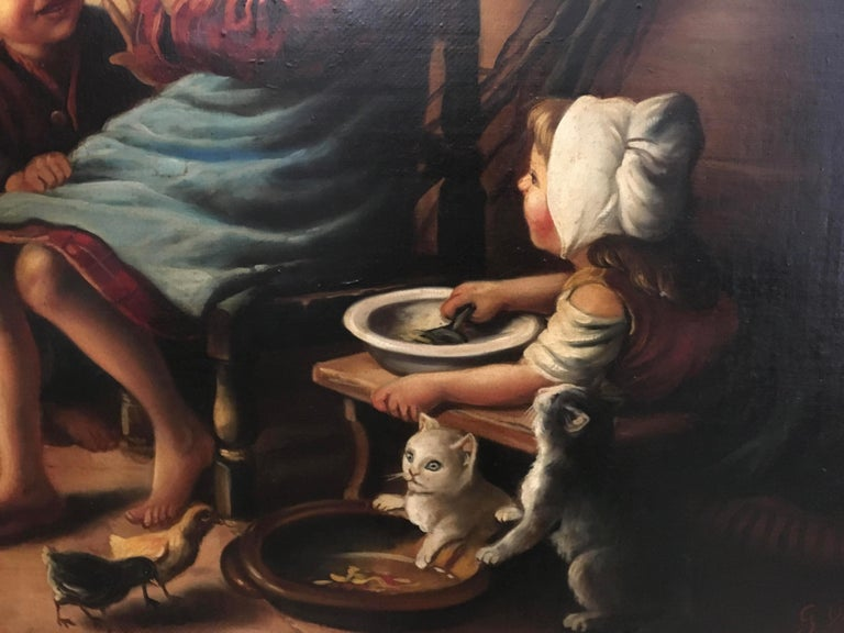 INSIDE SCENE- Italian figurative oil on canvas painting, Eugenio De Blasi For Sale 3