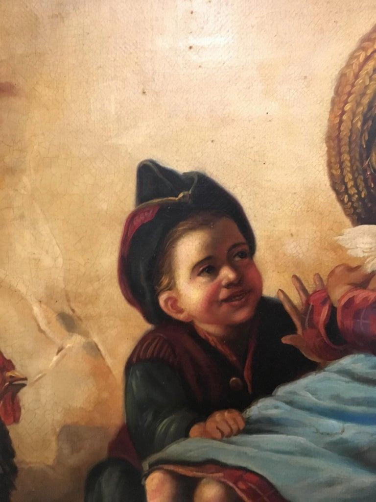 INSIDE SCENE- Italian figurative oil on canvas painting, Eugenio De Blasi For Sale 4