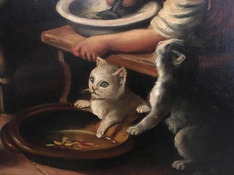 INSIDE SCENE- Italian figurative oil on canvas painting, Eugenio De Blasi For Sale 5