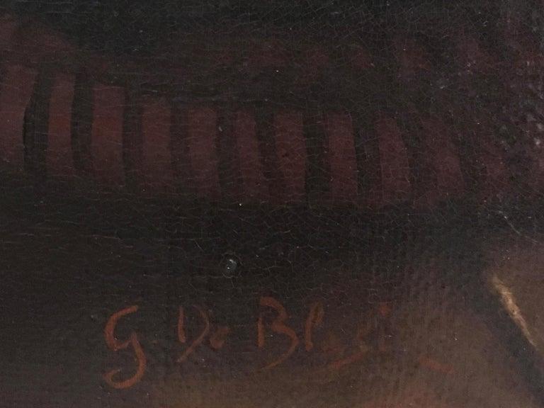 INSIDE SCENE- Italian figurative oil on canvas painting, Eugenio De Blasi For Sale 7