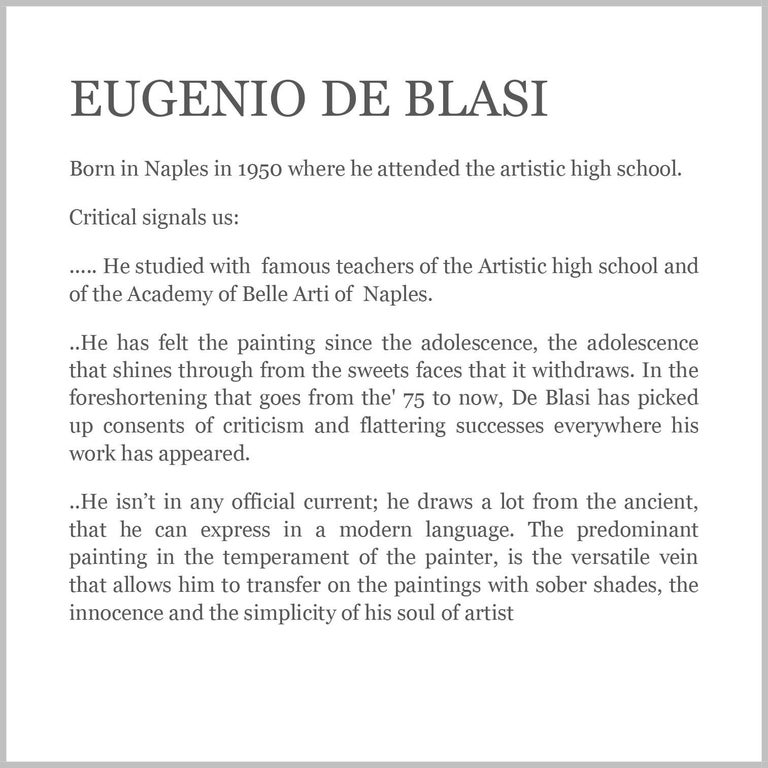 INSIDE SCENE- Italian figurative oil on canvas painting, Eugenio De Blasi For Sale 8