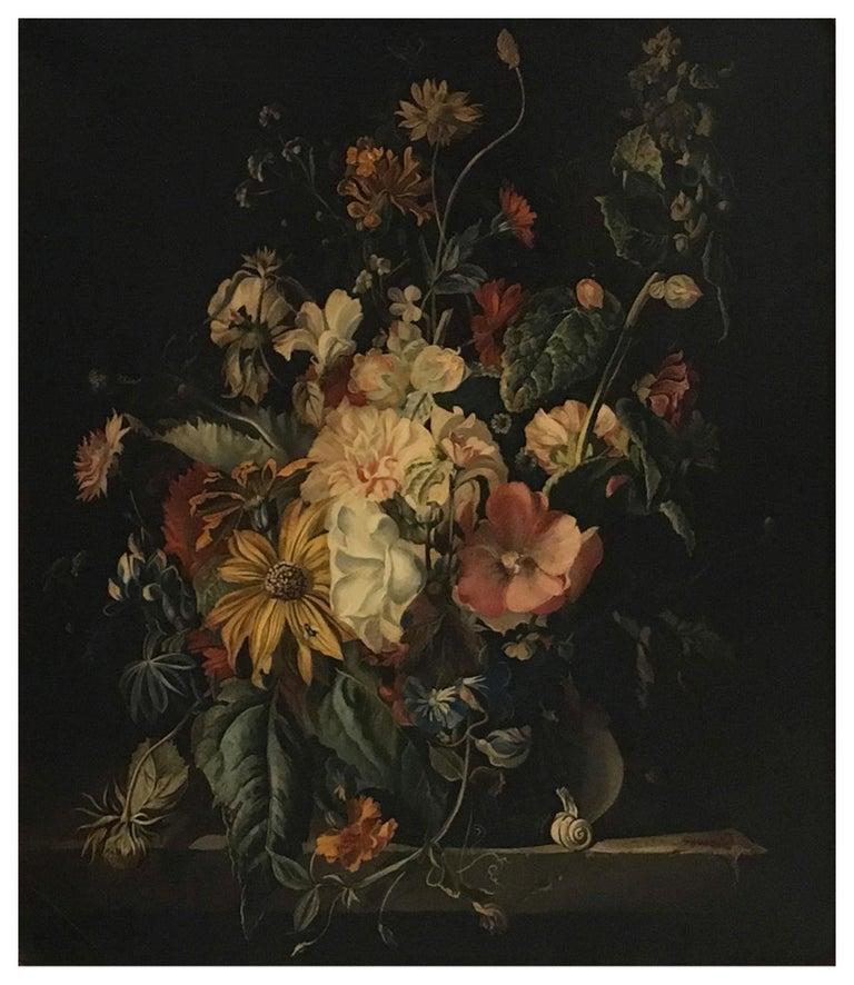 FLOWERS - Italian still life oil on canvas  painting, Roberto Suraci - Black Still-Life Painting by Roberto Suraci