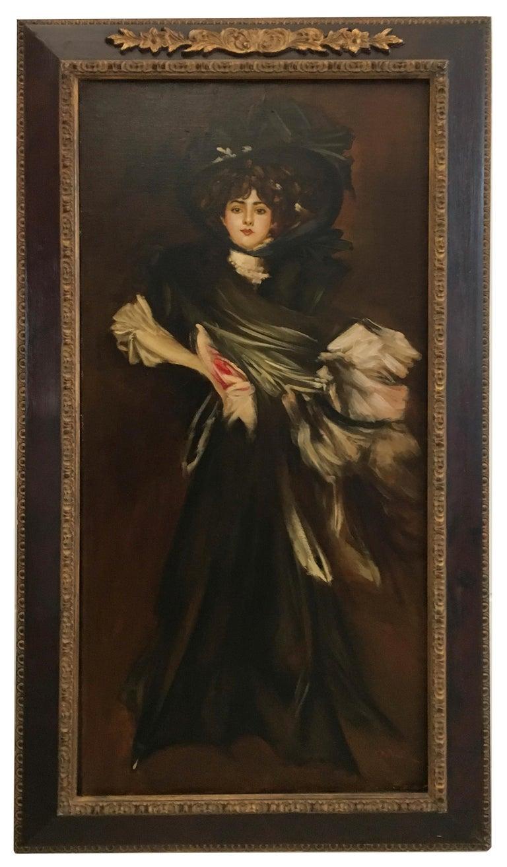 LADY IN BLACK- Eugenio De Blasi Italian figurative oil on canvas painting - Painting by Eugenio De Blasi