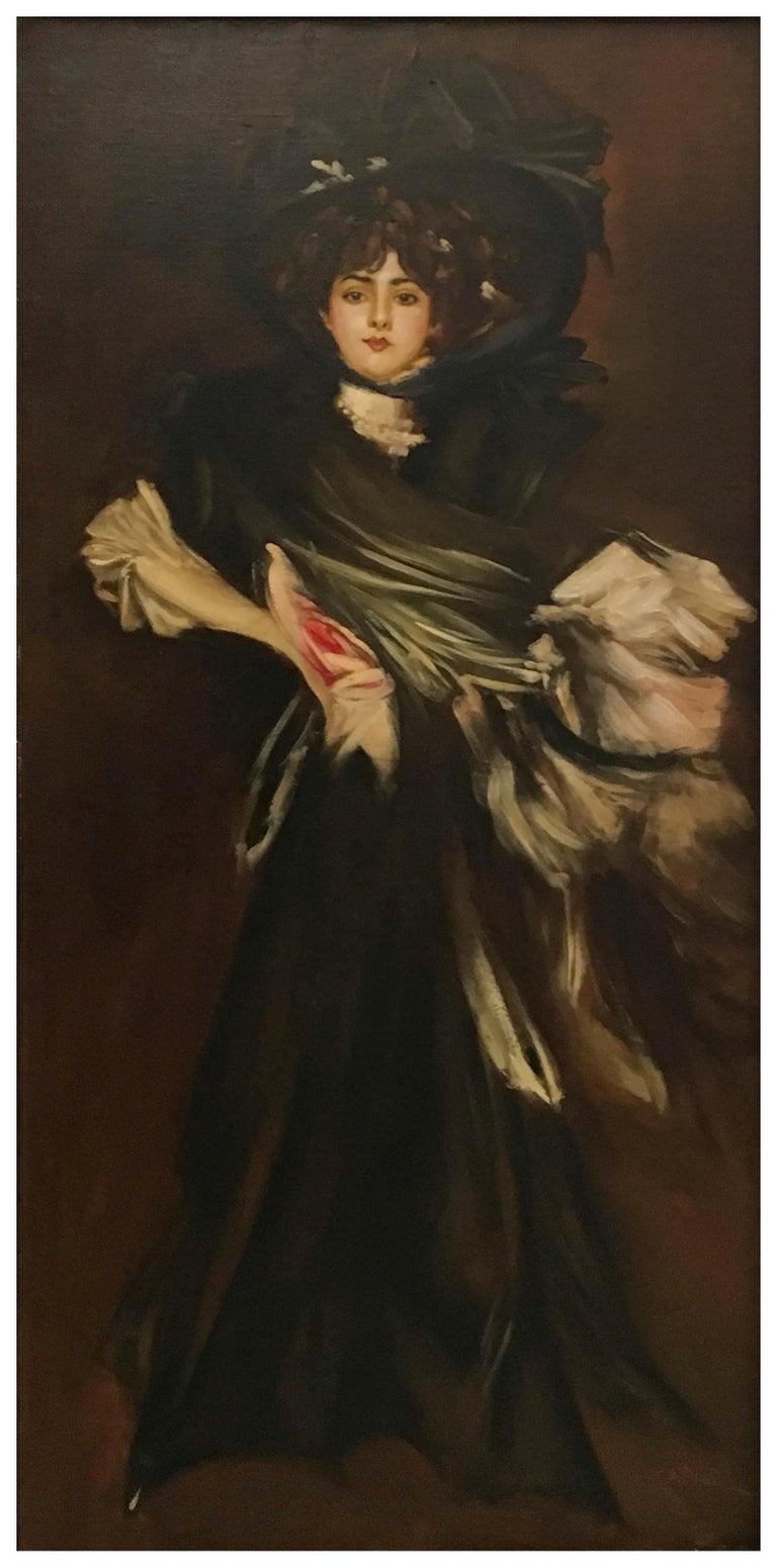 LADY IN BLACK- Eugenio De Blasi Italian figurative oil on canvas painting - Old Masters Painting by Eugenio De Blasi