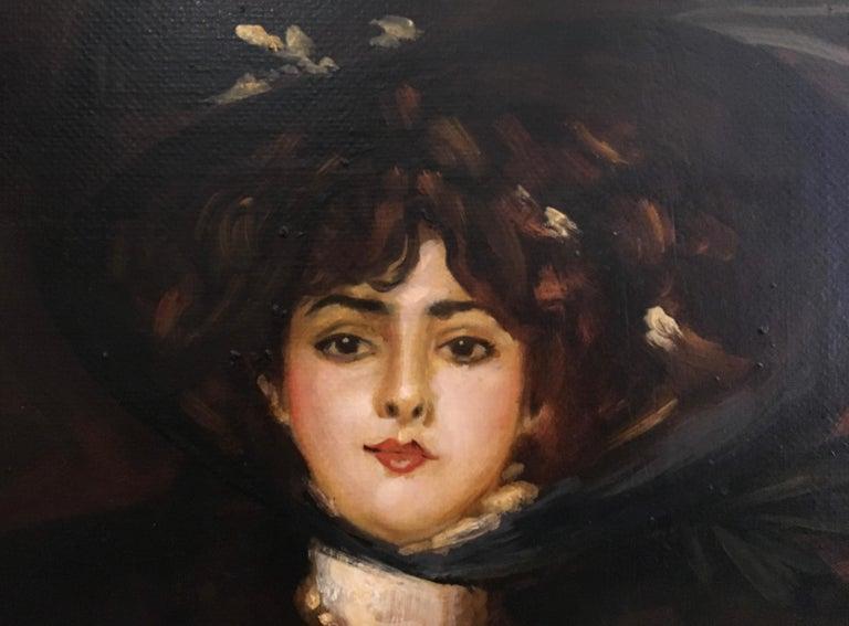LADY IN BLACK- Eugenio De Blasi Italian figurative oil on canvas painting - Black Figurative Painting by Eugenio De Blasi