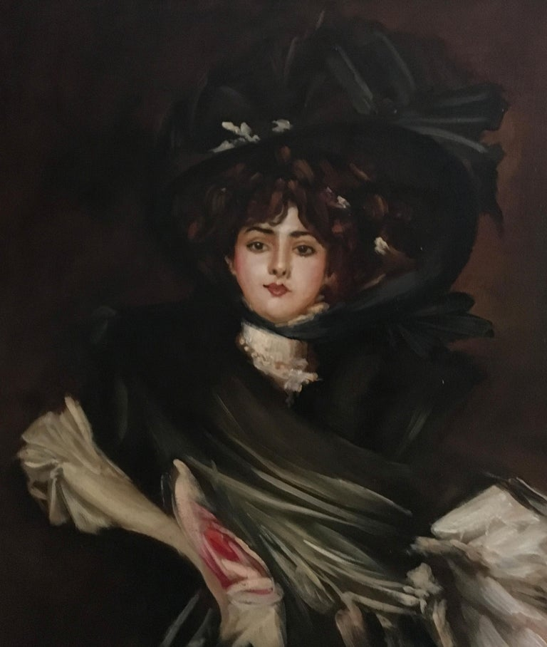 LADY IN BLACK - Oil on canvas painting, Eugenio De Blasi, Italy, 2011 This is his reinterpretation of a greatest old master painting by Giovanni Boldini. Gold leaf gilded and mohogany lacquered wooden frame cm. 142x82