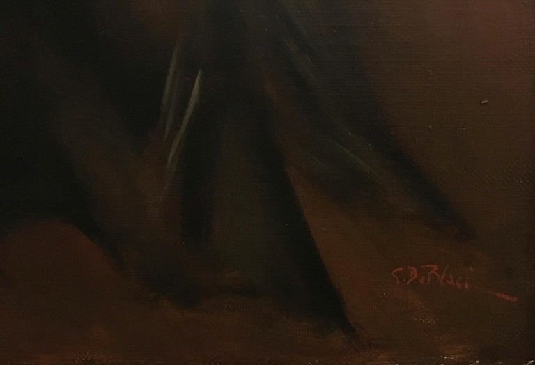 LADY IN BLACK- Eugenio De Blasi Italian figurative oil on canvas painting For Sale 1