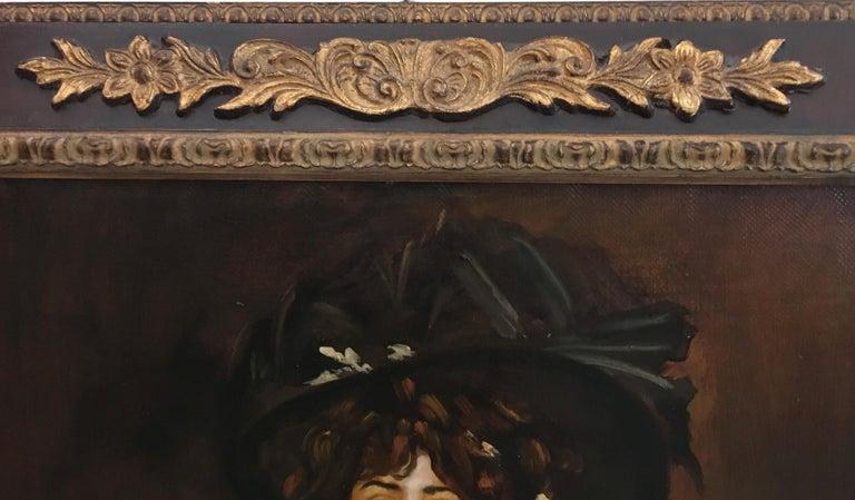 LADY IN BLACK- Eugenio De Blasi Italian figurative oil on canvas painting For Sale 2
