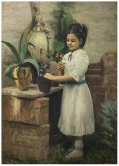 CHILD - Italian figurative oil on canvas painting, Tonino Manna