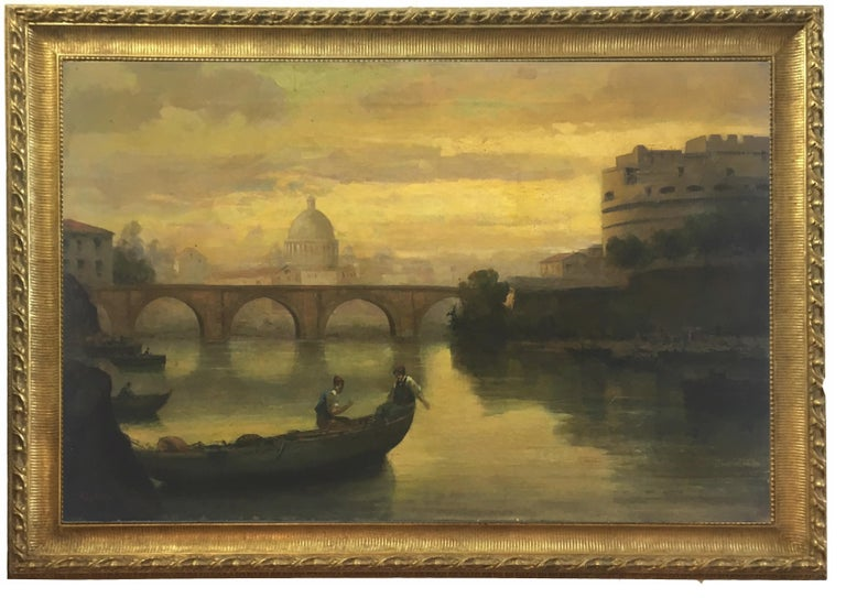 Rome - Castel Sant'Angelo - Oil on canvas cm.80x120, Italy, Antonio Crespi 2008 Gold leaf gilded wooden frame