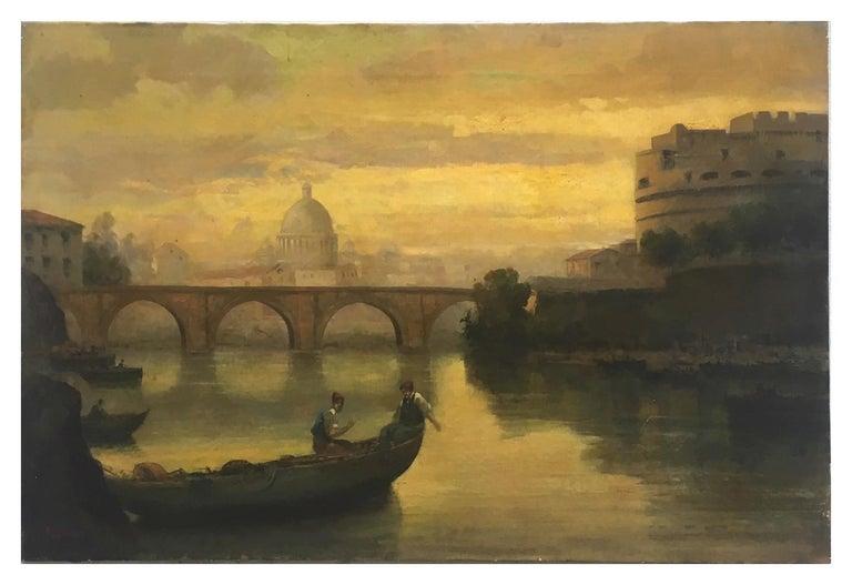 ROME CASTEL SANT'ANGEL - Antonio Crespi Italian Oil on Canvas Landscape Painting For Sale 1