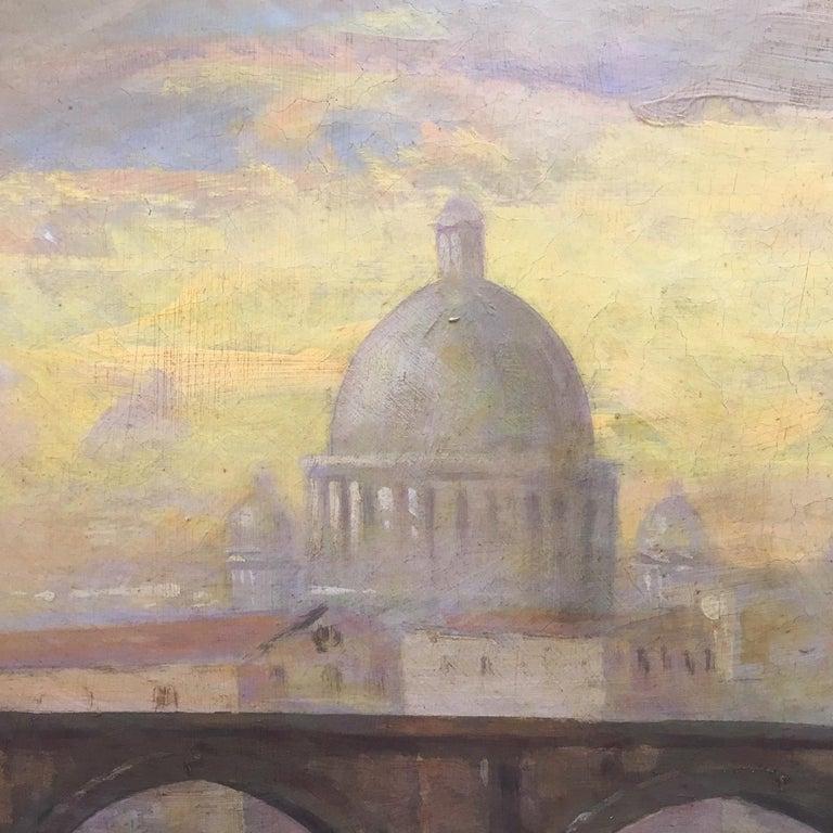 ROME CASTEL SANT'ANGEL - Antonio Crespi Italian Oil on Canvas Landscape Painting For Sale 2