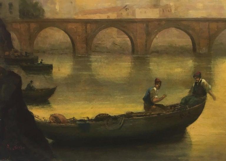 ROME CASTEL SANT'ANGEL - Antonio Crespi Italian Oil on Canvas Landscape Painting For Sale 3