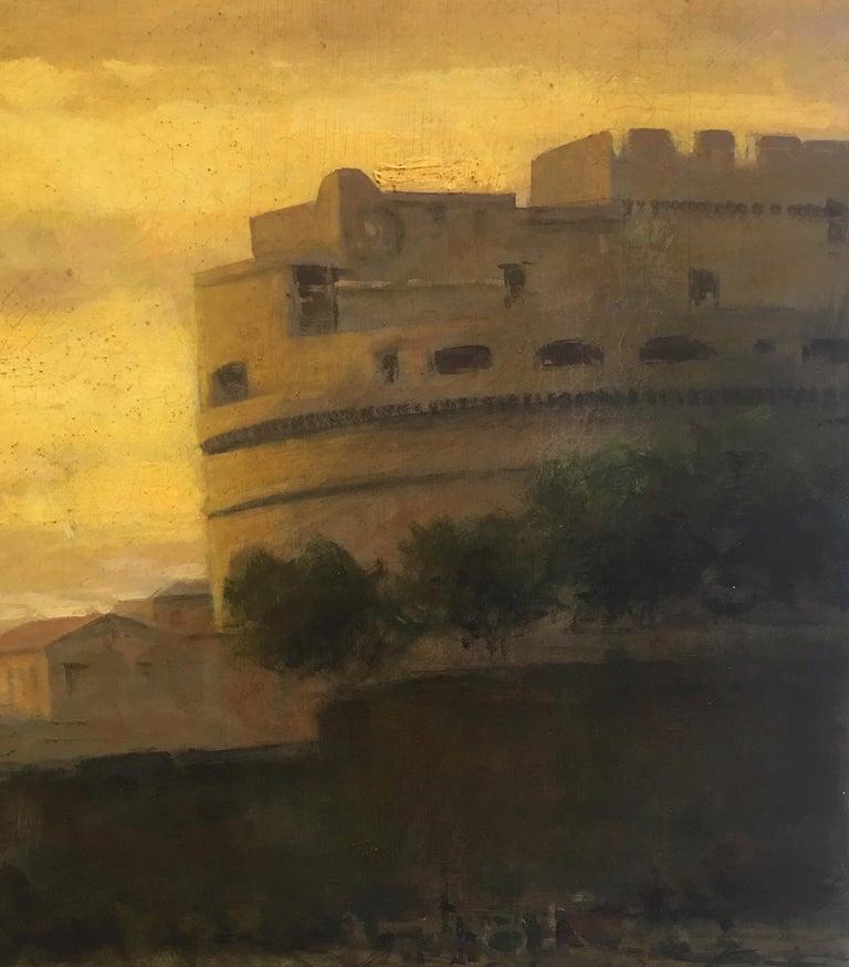 ROME CASTEL SANT'ANGEL - Antonio Crespi Italian Oil on Canvas Landscape Painting For Sale 4