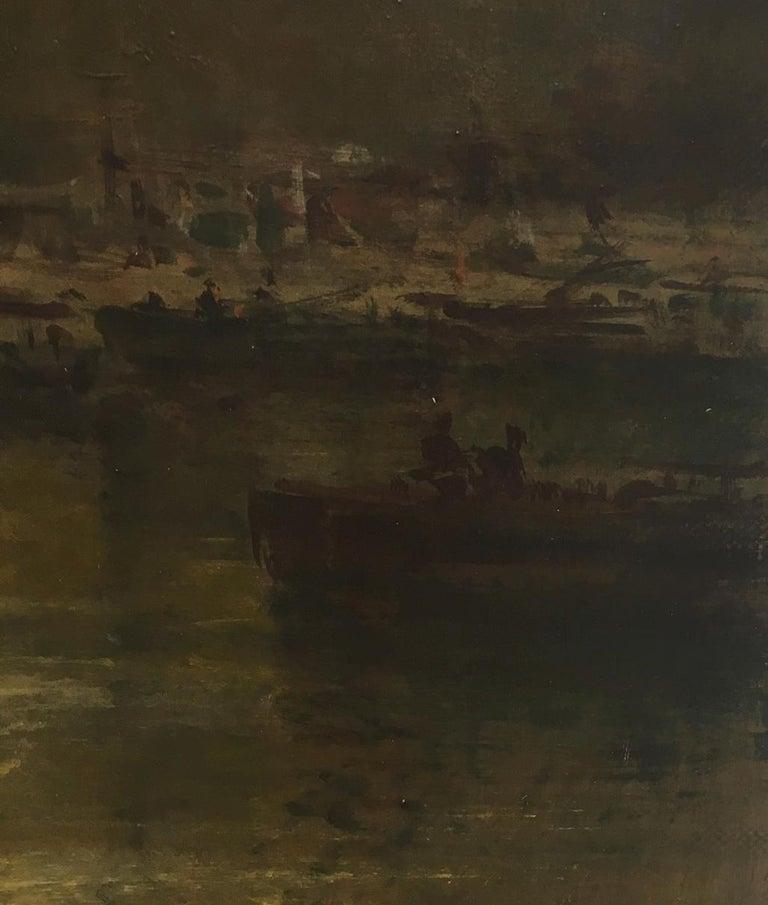 ROME CASTEL SANT'ANGEL - Antonio Crespi Italian Oil on Canvas Landscape Painting For Sale 5